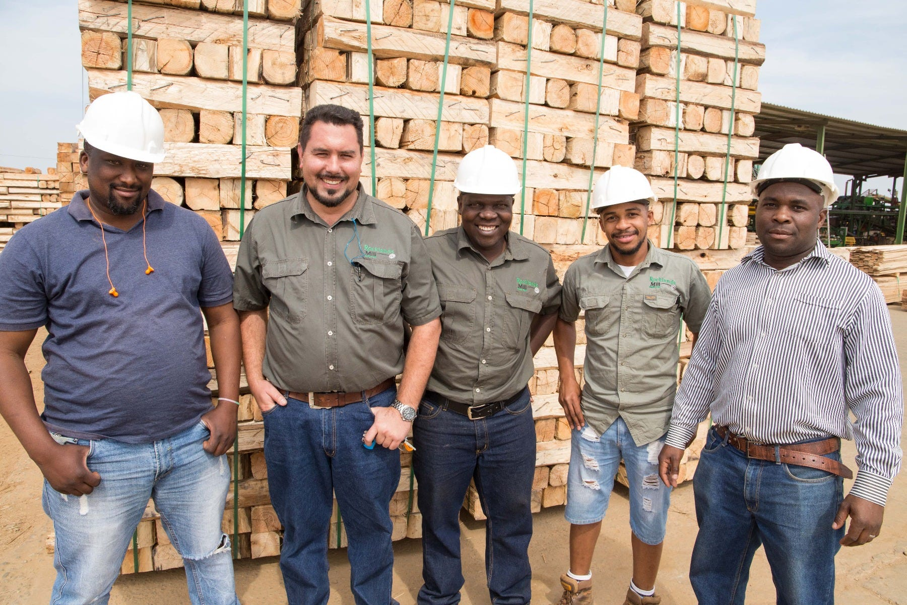 The dynamic management team of Rocklands Sawmill. From ltr is Ncamiso Bhembe – Yard Foreman, Jaco Fourie – Sawmill Manager, X-Mas Musenzo –WOS Manager, Bonke Dlamini – Pack Mill Manager and Elijah Bera – Senior Production Manager.